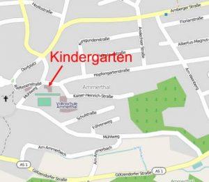 Lageplan des Kindergartens Ammerthal, Daten von OpenStreetMap - Veröffentlicht unter CC-BY-SA 2.0